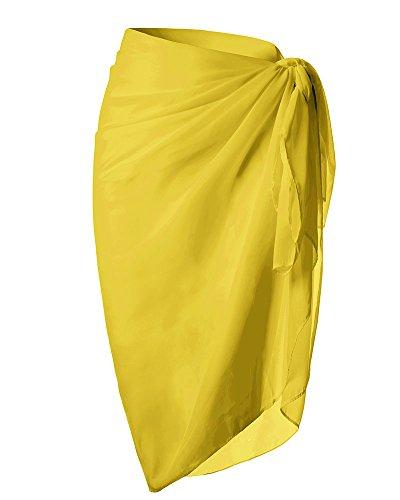 Huiyuzhi Womens Beach Sarong Swimsuit Wrap Chiffon Swimwear Cover up (One Size, Yellow)