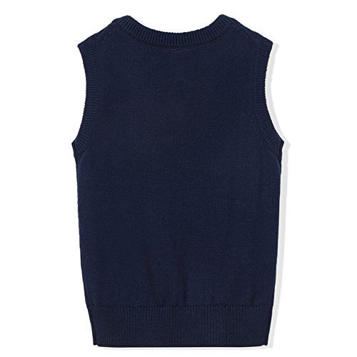 Benito & Benita Boys' Sweater Vest School V-Neck Uniforms Cotton Cable Knit Pullover Sweaters for Boys/Girls 3-12Y Navy by Benito & Benita (Image #1)