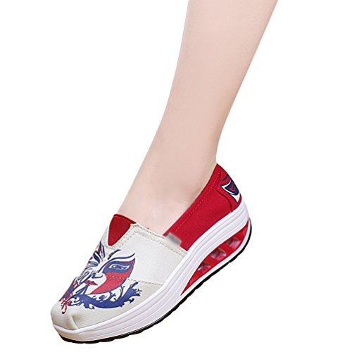 Fuß für Flatform Fahren zu Müßiggänger Sneakers mit Segeltuchschuhe 4printed Keilabsatz LINNUO Frauen Plattform Laufbedruckte PHFq5