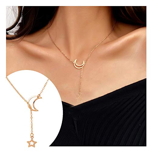 Frodete Minimalist Dainty Tiny Star Moon Choker Necklace Sun Crescent Pendant Long Necklaces for Women (Gold -