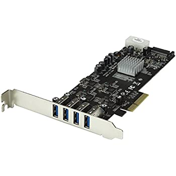 4 Port PCI Express (PCIe) SuperSpeed USB 3.0 Card Adapter w/4 Dedicated 5Gbps Channels - UASP - SATA/LP4 Power