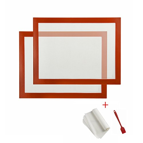 2-Pack Non-stick Hot-resistent Silicone Baking Mats Cookie Sheets + 10 Pieces of Parchment Paper + 1 Silicone Brush, 11.81