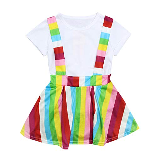 Summer Kid Baby Girl Dress Cuasl T Shirt Rainbow Striped Suspender Skirt 2PC Clothes Outfits -