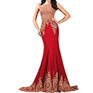 Lemai Shiny Crystals Long Mermaid Formal Prom Pageant Evening Dresses Gold Lace Sheer