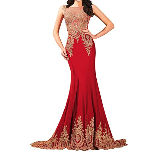 Lemai Shiny Crystals Long Mermaid Formal Prom Pageant Evening Dresses Gold Lace Sheer Red US20W ()