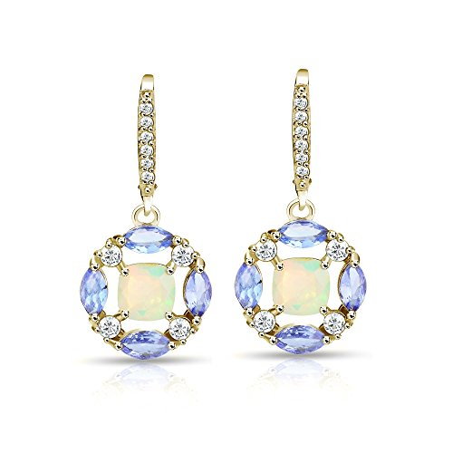 Yellow Gold Flashed Sterling Silver Ethiopian Opal, Tanzanite and White Topaz Circle Dangle Leverback -