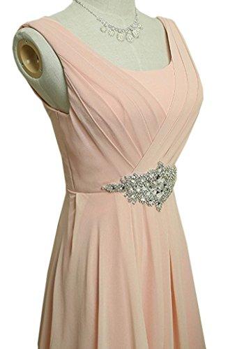 Eyekepper Vestido de Noche de Busto de Fruncido de Diamantes de Imitación del Cuello Redondo de Hombros Dobles Para Dama de Honor Rosado