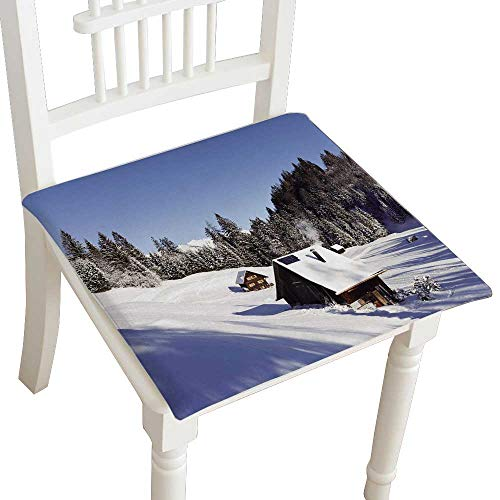 HuaWuhome Chair Pads Classic Design Sunny Winter Landscape with Occupied and Heated Log Cabins in The Mountains Cotton Canvas Futon -