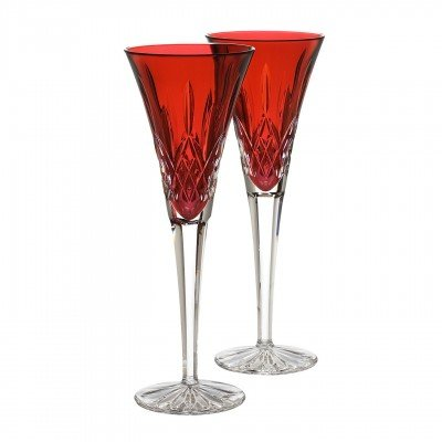 Christmas Tablescape Décor - Waterford Crystal Lismore Essence Jewels crimson champagne flute pair