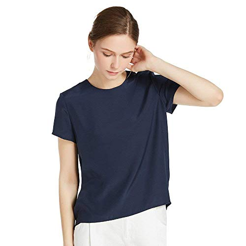 LilySilk Navy Blue Silk Blouses for Women Short Sleeve 100 Pure Mulberry 22 Momme Ladies Silk Tops Button Slit Back Closure M/8-10