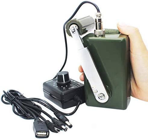 Hand Crank Generator High Power Charger for Outdoor Mobile Phone Computer Charging 30W 0-28V with USB Plug Green Generator DC Regulator