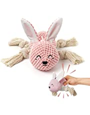 Plush Dog Toys, Interactive Stuffed Dog Toys with Crinkle Paper, Durable Squeaky Chew Toys for Small and Medium Dogs, Cute Rabbit Dog Toys for Puppy Large Breed
