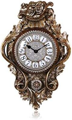 KUQIQI ヨーロッパ式のサイレントリビングルーム片面掛け時計、寝室時計、レストランのファッション振り子時計、三次元時計の文字盤、ブロンズ、ライトイエロー (Color : Bronze)