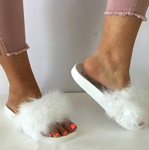 ... Anna S-2017-3 Kvinner Furry Fjær Marabou Faux Fur Lysbilder Flip Flop  Sandal