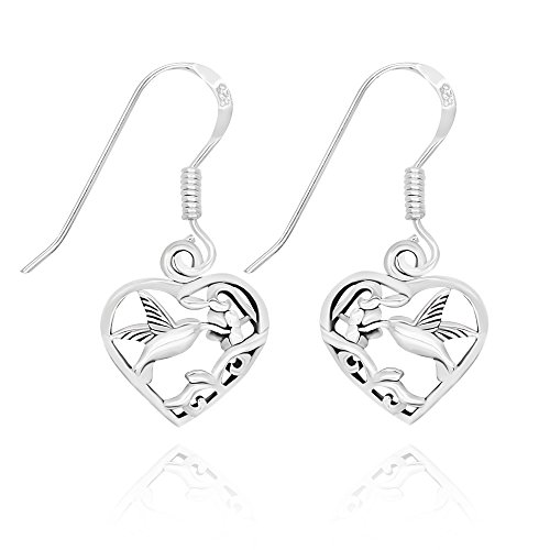 Sterling Silver Filigree Flower - 925 Sterling Silver Filigree Flower Hummingbird Heart Dangle Earrings