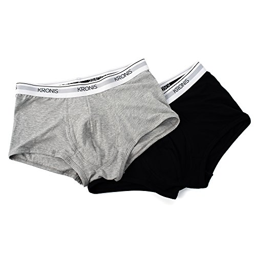 (Italian Designed Trunks 2 Pack KRONIS Mens Underwear Premium 180gsm Cotton, Large, Black + Marble Grey)