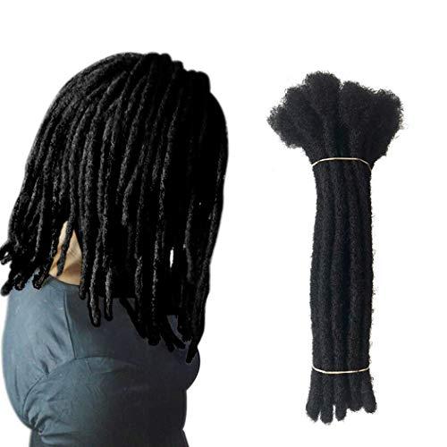 Yotchoi 100% Human Hair Dreadlocks Extension Handmade Locs Large Size(diameter 0.8cm) 8inch 60 Strands/pack Natural Black #1B