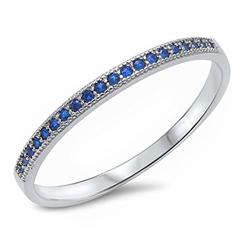 1.5mm Half Eternity Stackable Engagement Band Simulated Sapphire Ring 925 Sterling (Sapphire Fashion Stackable Ring)
