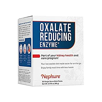 Nephure Oxalate Reducing Enzyme, Low Oxalate Diet Support, 30 Single Serve  Stick Packs, 3 175 oz