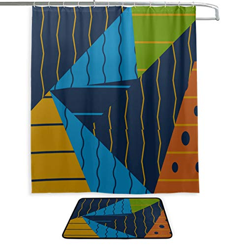 RH Studio Shower Curtain Set of 2 Background Wallpaper Colors Color Mat Set Waterproof Fabric Bathroom Curtain and Rug Set with Hooks