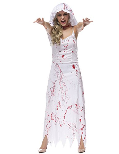 White House Halloween Costume (Colorful House Womens Ghost Bride Fancy Dress Zombie Halloween Costume (White, Size L))