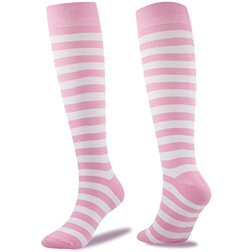 School Uniform Party Socks, SUTTOS Women's Girls Wonder Fun Pink White Striped Fashion Patterned Soccer Socks Knee High Long Tube Cotton Flat Knit Warm School Team Socks,2 Pairs Pink]()