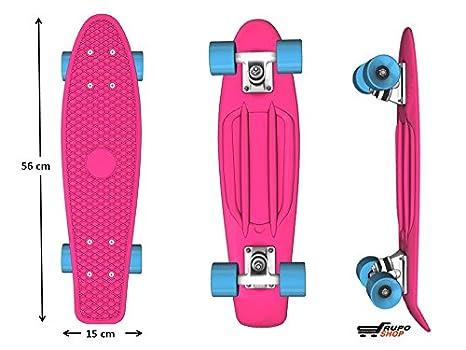 Monopatin tipo penny - Color Rosa con ruedas Azules Premium ABEC - MINI CRUISER EDICIÓN ESPECIAL ®: Amazon.es: Juguetes y juegos