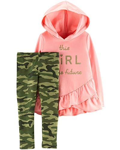 (Carter's Baby Girls' 2-Piece Hoodie and Legging Sets (Pink Terry/Camo, 3 Months))
