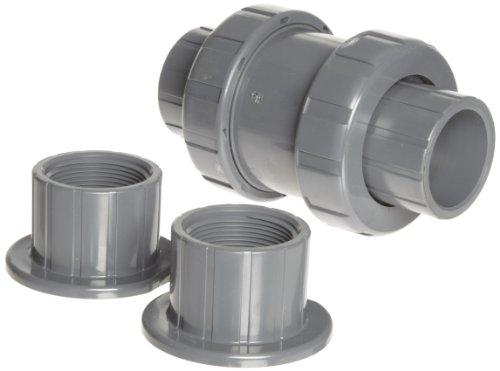 (Hayward TC10150STE Series TC True Union Ball Check Valve, Socket/Threaded End, PVC with EPDM Seals, 1-1/2