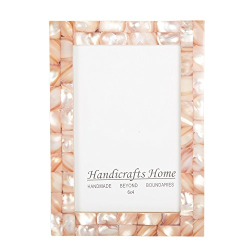 4×6 Picture Frames Chic Photo Frame Mother of Pearl Handmade Vintage from Handicrafts Home (4×6, Pink)