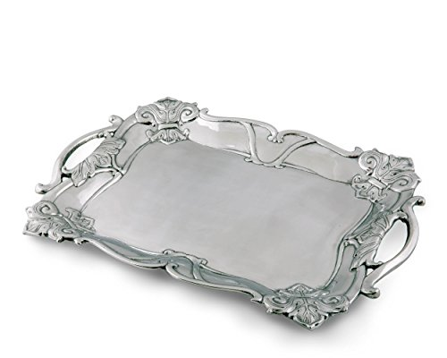 Serving Pieces Pewter (Arthur Court Designs Aluminum Fleur-De-Lis Rectangle 21