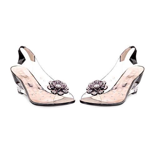 MIOKE Women's Fashion Clear Crystal Wedge Sandals Peep Toe Glitter Flower Platform High Heel Dress Sandal Black