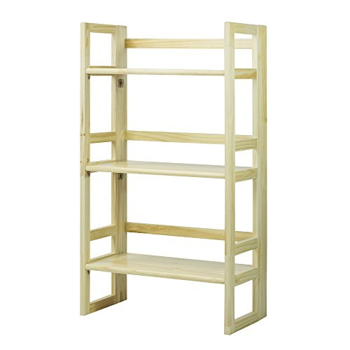 Casual Home 3-Tier Folding Student Bookcase, 20.75-Inch Wide, Natural