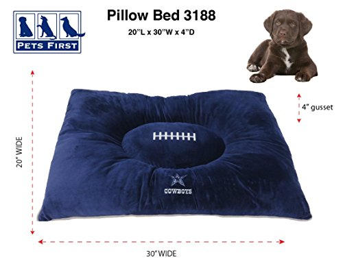 Picture of NFL PET Bed - Dallas Cowboys Soft & Cozy Plush Pillow Bed. - Football Dog Bed. Cuddle, Warm Sports Mattress Bed for Cats & Dogs