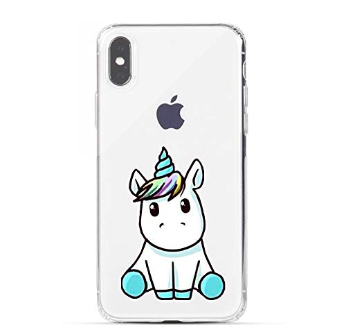 Design Silicone Back Cover - HUIYCUU Case Compatible with iPhone X for iPhone Xs Case,Cute Animal Design Slim Fit Soft TPU Shockproof Case for Girls Women Funny Pattern Thin Clear Novelty Bumper Back Cover Little Unicorn