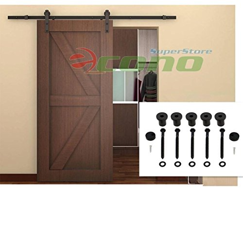 6Ft Sliding Door Closet Hardware Track Set 72'' Rail Modern Style Black Barn Wood by Generic