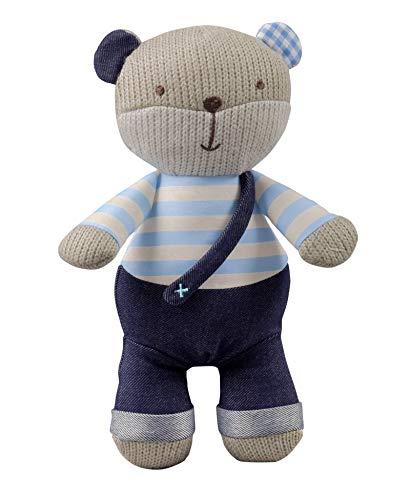 Blue Teddy Bear Rattle - STORKI Teddy Bear Rattle Plush Toy for Babies, Soft Stuffed Animal Baby Gift, Blue 10.2