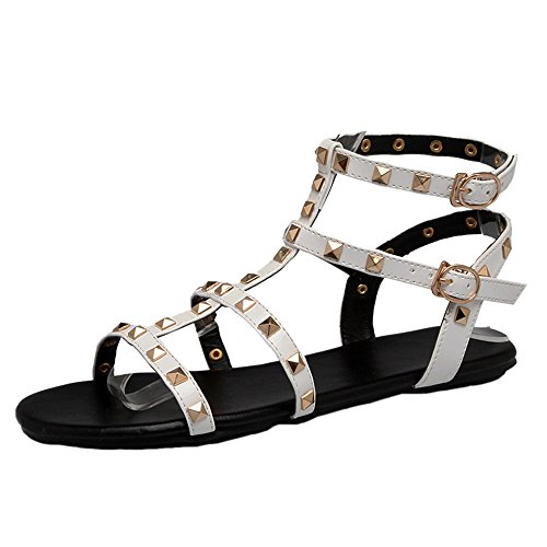 Basse Gladiatore Studded Moda Sandali Donna Scarpe White COOLCEPT wHtOq8xTH