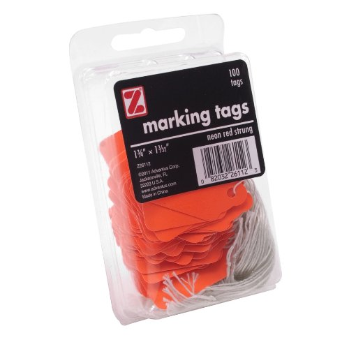 ADVANTUS Marking Tags, 1-3/32 x 1-3/4 Inches Each, 100 per Pack, Neon Red (Z26112) 85%OFF