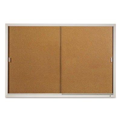 Quartet Enclosed Cork Bulletin Board for Indoor Use, 6' x 4', Sliding Door, Aluminum Frame (D2405) by Quartet
