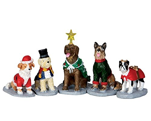 Lemax Village Collection Costumed Canines Set of 5 # 32126 by Lemax Village Collection (Christmas Villages Sets)