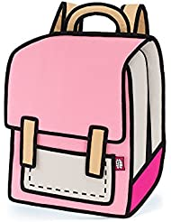 JumpFromPaper Pink Backpack, Bag for Woman, Cartoon, Laptop, Cute, Unique Bag, jump from paper