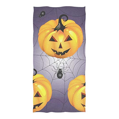 Beach Towel Halloween Pumpkin with Spider Beach Blanket Towel 74 x 37 Inch for Travel Pool Swimming Bath Camping Yoga Gym Sports]()