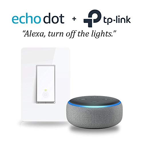 Price comparison product image Echo Dot (3rd Gen) - Heather Gray with Smart Wi-Fi Light Switch by TP-Link