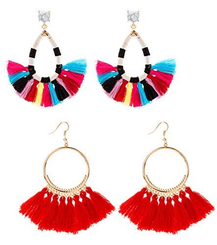 - Masedy 2 Pairs Tassel Earrings for Women Girls Dangle Hoop Earrings Boho Fringe Drop Earrings HO