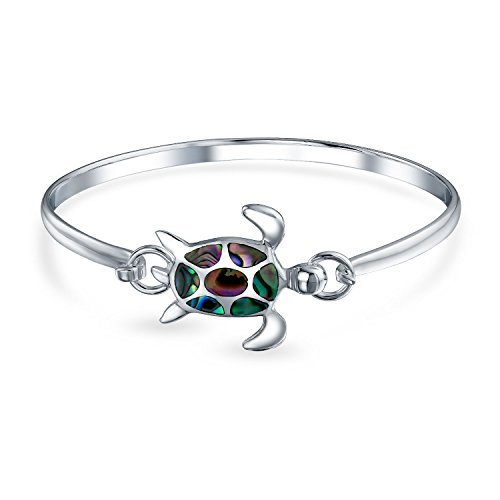 Nautical Sea Turtle Beach Tortoise Iridescent Abalone Shell Bangle Bracelet For Women Polished 925 Sterling Silver