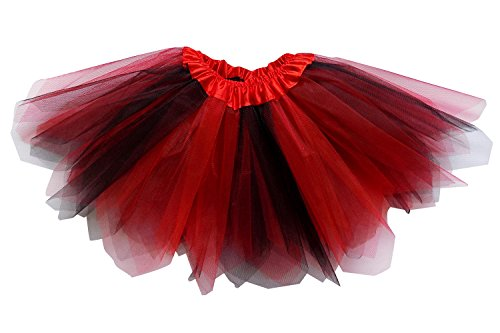 Fairy Dress Up Tutu Costumes (So Sydney Adult Plus Kids Size PIXIE FAIRY TUTU SKIRT Halloween Costume Dress Up (M (Kid Size), Red & Black))