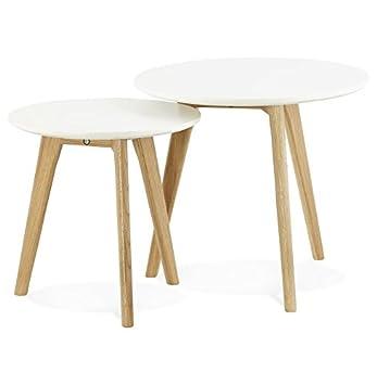 Alterego Table Gigogne Ronde Gaby Style Scandinave Amazonde