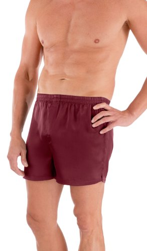 TexereSilk Men's 100% Silk Dress Boxers (Board Room, Burgundy, L) Birthday Gift