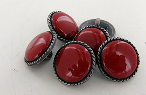 Stone Button - 6 pcs Red Onyx Rope Design Buttons 1/2